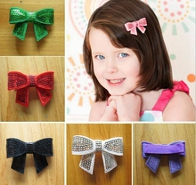 "100pcs 2"" sequin hair bows clips embroidered Applique with covered fully lined alligator clip hair Accessories Headwear HD3228"