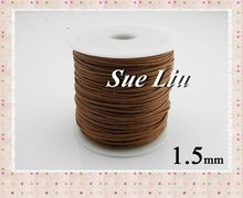 1.5mm 80M Warm Brown Waxed Cotton Cord Wax Bead String NCK15, 87yds=80M=260ft