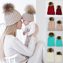 Baby Knitted Wool Hat Caps for Girls Toddler Crochet Beanies Fur Ball Cute Baby Boys Hats Family Cap 2 Pcs Gorros Para Bebe(China)