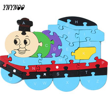 YNYNOO New Bike/Train Design Lovely wooden Digital panel English alphabet puzzle children's toys children's educational force
