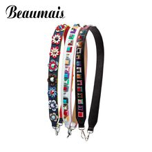 Beaumais 2017 colorful Flower Female handbag belt women bag strap Geniune leather shoulder bag part you bolsa accessories VK214