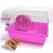 High Quality Pet Hamster Cage Portable Small Pet Cage Nest Cute Mini Water Bottle Hamster Toy Sport Wheel Guinea Pig House(China)