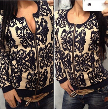 Autumn Winter Hand Knitted Cardigan Coats,2015 Vintage Embroidered Black and Blue Printing Zipper Casual Women Sweater. q0994