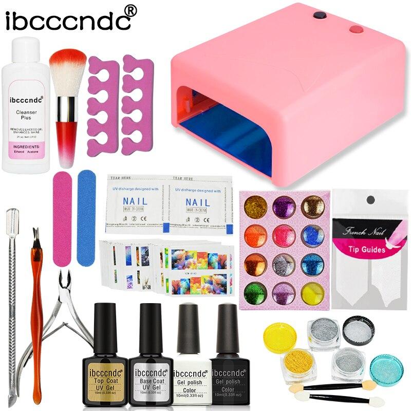 Ibcccndc Nail Art Set Manicure 36W UV Lamp 2 Color 10ml Nail Gel Primer Base and Top Polish Remover Sequins Glitter Nail Set Kit<br>