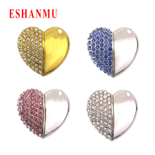 2017 Hot Heart Crystal Usb Flash Drive heart jewelry 4gb 8gb 16gb 32gb pendrive Memory stick Lover Gift