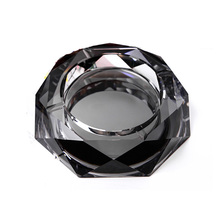 Luxury Gold Clear Black Colorful 12 cm Round Crystal Ashtray Glass Ashtray for Boyfriend Gift Home Decor DEC184(China)