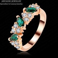 ANFASNI Luxury Imitation Emerald Ring Rose Golden Color Genuine SWA Stellux Lovers Jewelry Ri-HQ1133