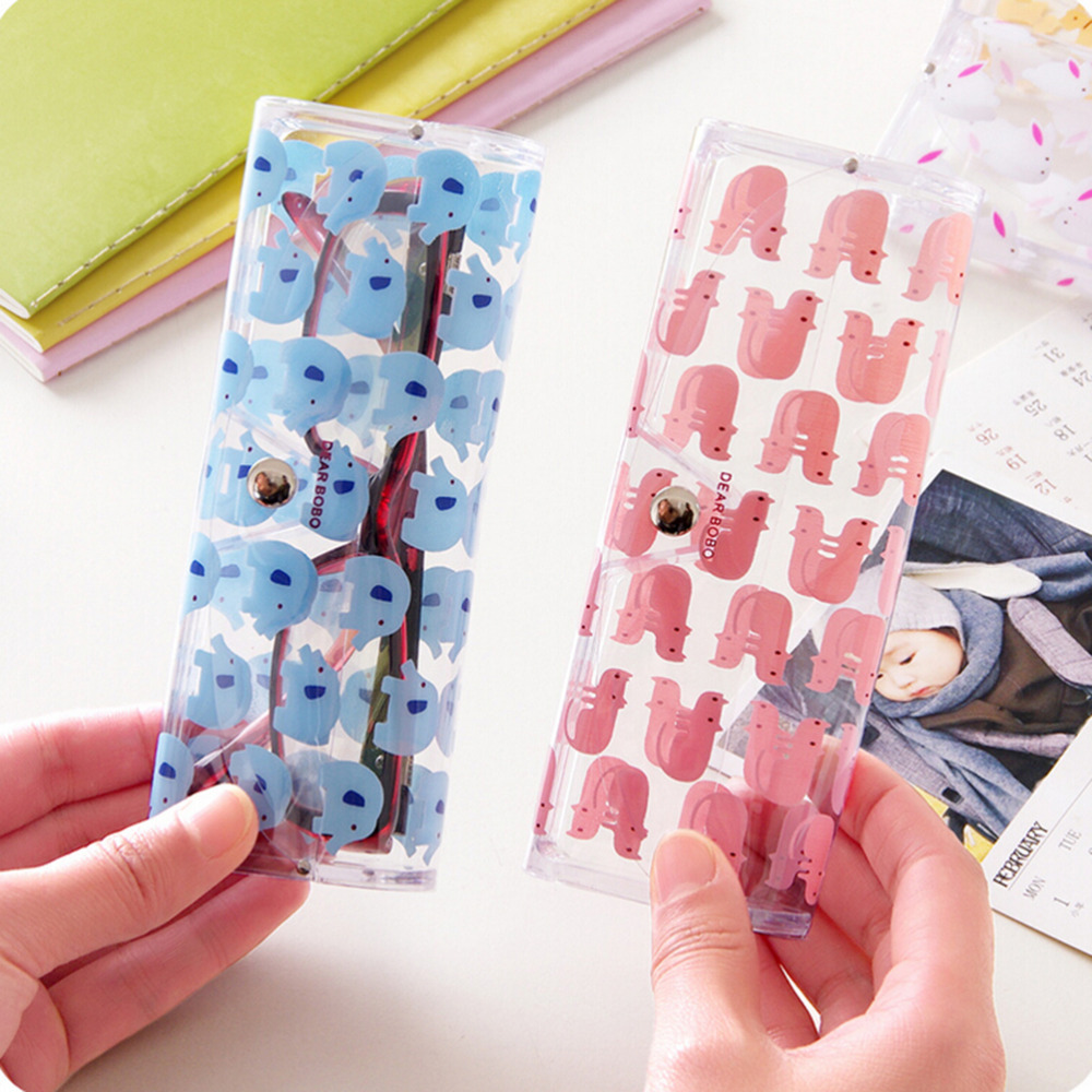 1 x Lovely Cartoon Animals PVC Glasses Box Cute Transparent Glasses Case Protable Eyewear Boxes Christmas Gift for Girl