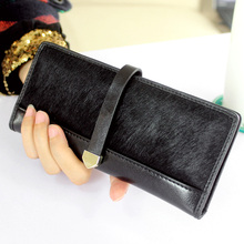 Genuine Leather Women Wallets Fashion Horse Hair Leopard Long Purses And Handbags Coin Purse Clutch Bag Card Holder Carteras(China)