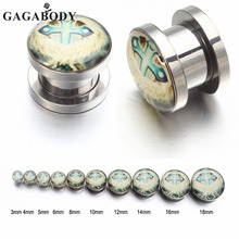Christmas Gift GAGA 3~18mm Punk Stainless Steel Cross Screw Tunnel Plug Ear Expander Stretcher Piercing Gauge