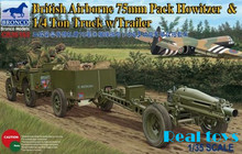 Bronco model CB35163 1/35 British Airborne 75mm Pack Howitzer 1/4 Ton Truck w/Trailer plastic model kit