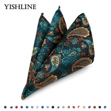 Luxury Men's 100% Silk Handkerchief Hanky Man Paisley Floral Jacquard Woven Pocket Square 25*25cm For Business Wedding Party(China)