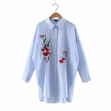 Women elegant striped embroidery floral long blouses full cotton ladies office wear loose shirts split casual tops blusas LT1020
