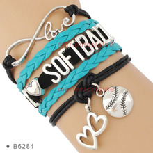 (10 PCS/lot)Infinity I Love Softball Baseball Soccer Tenns Football Bracelets New Year Red White Black Wrap Leather Women's