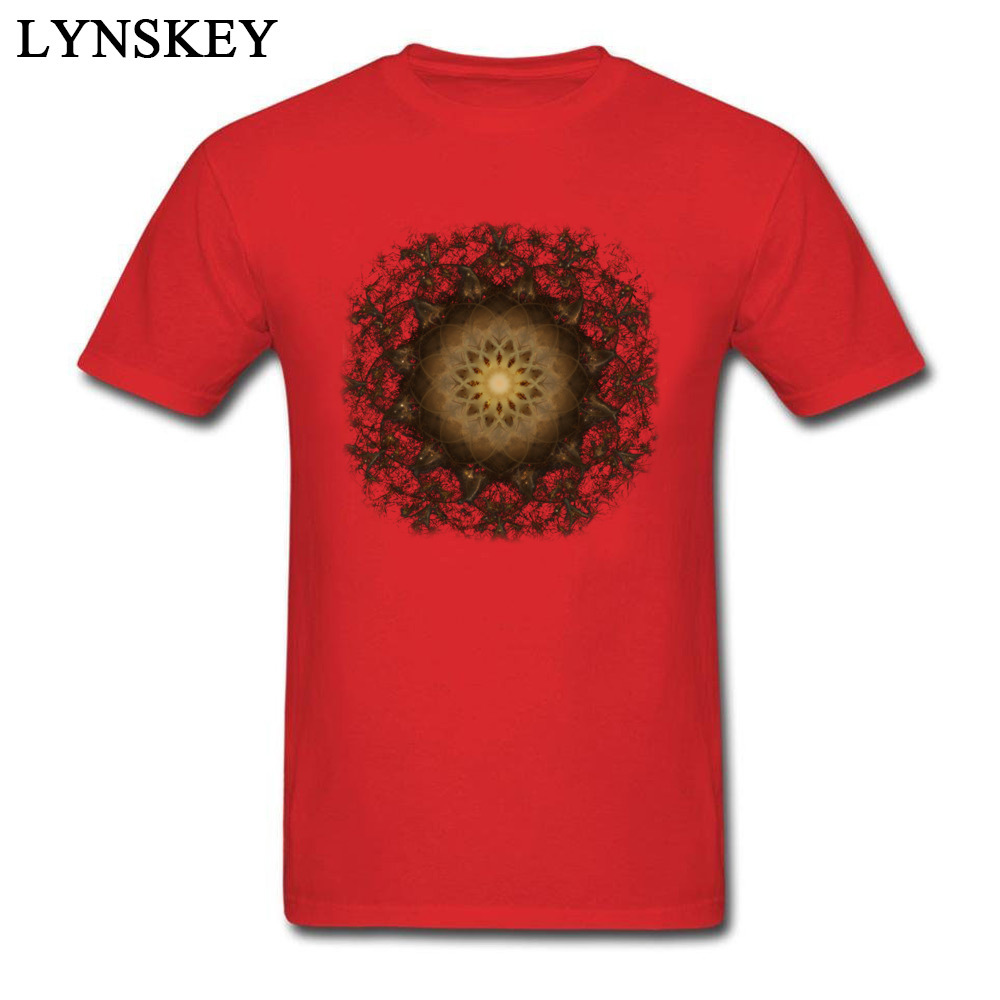 100% Cotton Tops Tees Copper Mandala for Boys Printed On T-Shirt Casual Prevailing Round Neck Short Sleeve Sweatshirts red