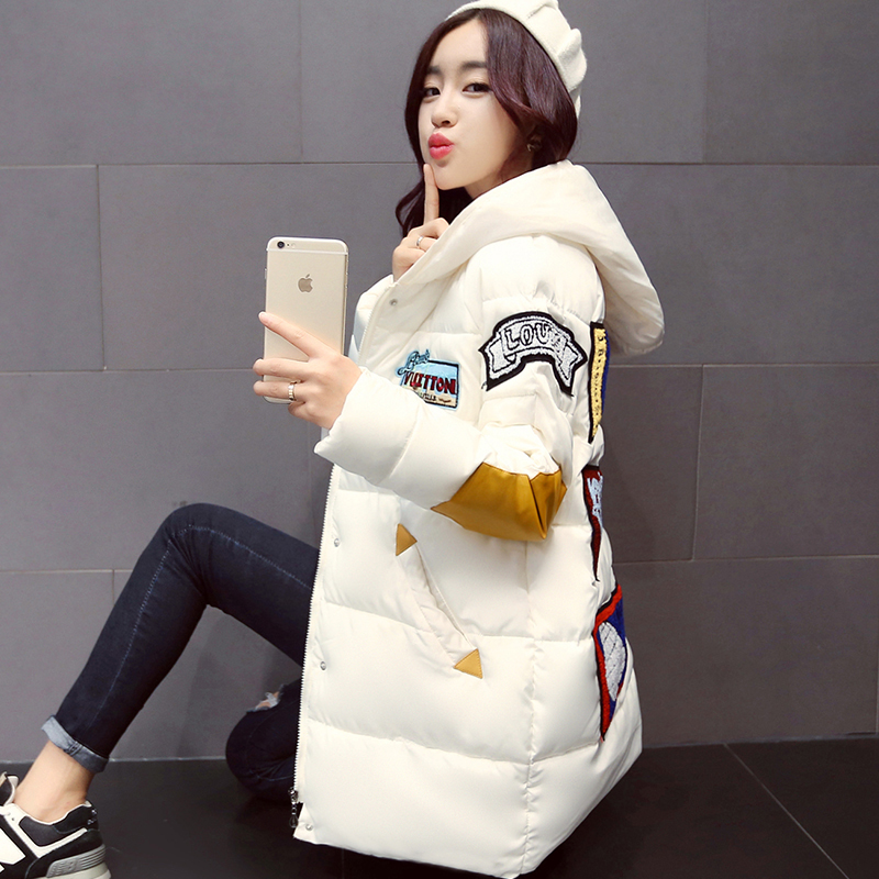 2017 trendding down coats thickened warm winter coat  womens on sale overcoat for women padded hooded parkas with patch fashion