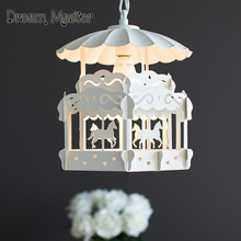 Nordic modern minimalist carousel children's room chandelier creative personality living room bedroom Princess lamp Postage free(China)