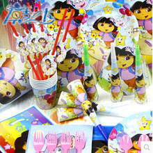 PASAYIONE 84Pcs For 6 People DORA THE EXPLORER Theme Party Birthday Party Decoration Super Set Plate Cup Cap Kids Party Supplies