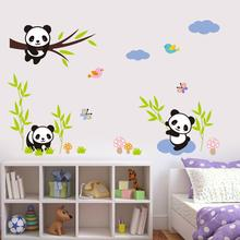 cute pandas bamboo wall stickers for kids room decor safari mural art chinese animals home decals children gift