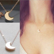 Simple Korean Style Gold/Silver Crescent Moon Necklace Plain Half Moon Galaxy Moon Pendant Necklace Set Jewelry for Women Female