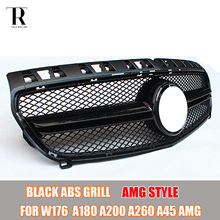 AMG Style W176 ABS Black Front Grill Grille for Mercedes Benz W176 A-CLASS A180 A200 A260 A45 AMG 2013 2014 2015(China)