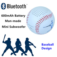 600mAh portable Battery Mini Bluetooth speaker Baseball design audio player Support TF card playing and USB charge line in