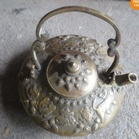 Rare Exquisite Hand-carved Antique Copper Tea pot Kettle Free Shipping