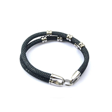 Customsize Fashion Stingray Skin leather bracelet for man and women Luxury Stainless Steel Beads Bracelet with Easy-Hook Clasp(China)