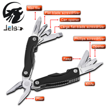 Jelbo 9 In 1 Multitool Pliers Portable Compact Knives Outdoor Survival Opener Pry Bar Saw Camping Hand Tools Wrench Mini Pliers