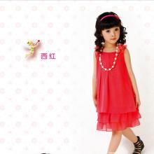 2015 new  Chiffon Lace Lovely Necklace dress Girl Princess Kids Casual Sleeveless Girl Childrens Dresses for holiday and party