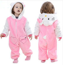 Pink Animal Baby Romper Boy Girl Hello Kitty Cartoon Jumpsuit Pajamas Warm Autumn Winter Cute Children Flannel Zipper Clothes