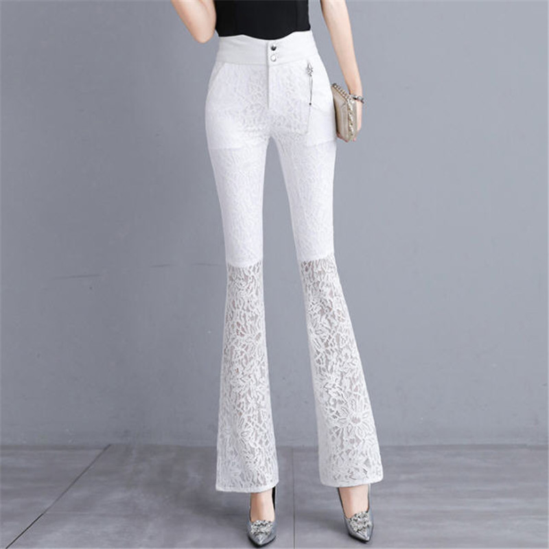 2019 New Bell-Bottomed Pants Female White High Waist Trousers Spring Summer Thin Lace Bell Bottom Pants A5135