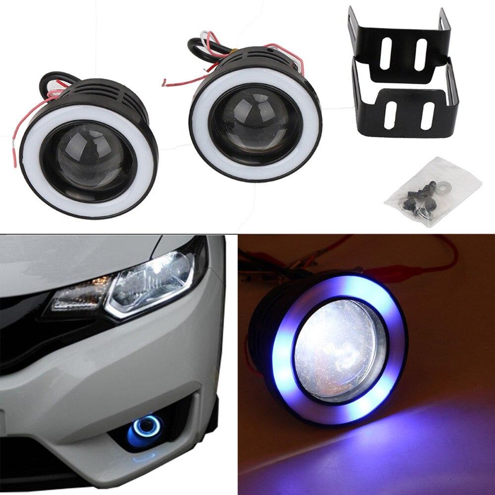 1Set Xenon COB Angel Eye Halo Ring LED Fog Light DRL Rolling Flash light For Jeep BMW AUDI VW with 2.5 Foglight Hole #PDK638-B<br>