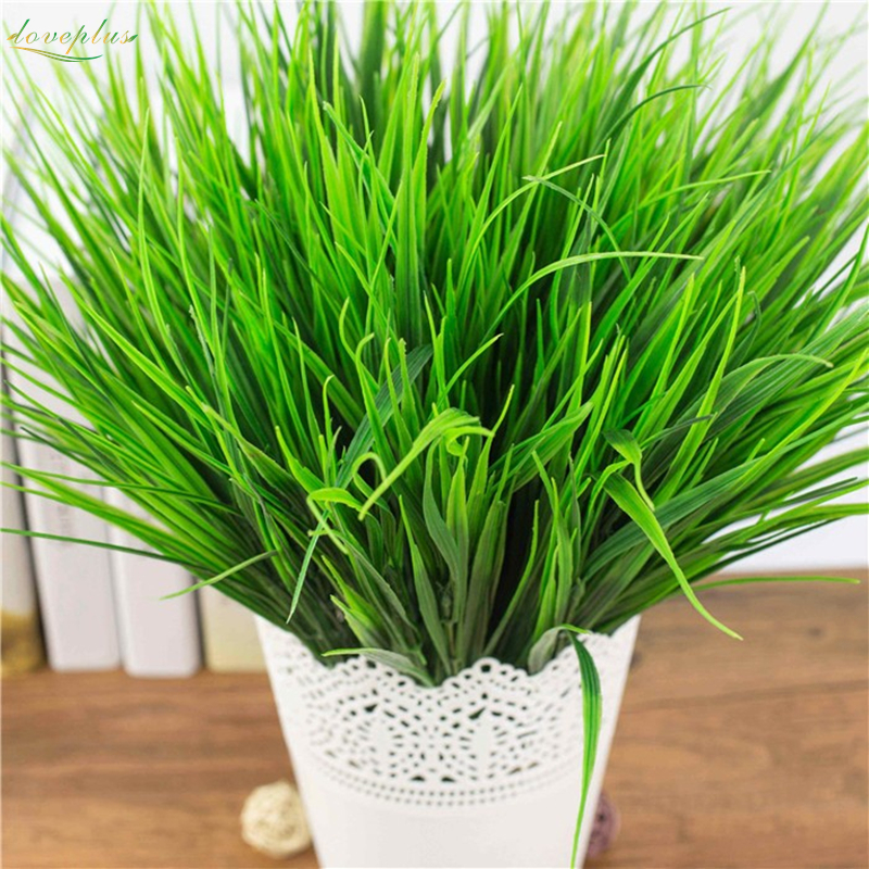 loveplus7-fork Green Imitation Plastic Artificial Grass Leaves Plant for Home Wedding Decoration Clover Plant(China)