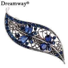 Amazing wedding hair accessories Hairpin Blue Crystal Leaf Headwear Barrette Hair Clip Headwear Accessories Jewelry For Woman(China)