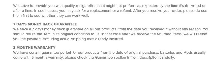 Warranty details