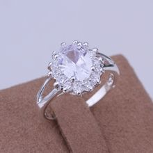 Free Shipping Sterling-Silver-Jewelry Ring Fine Fashion Silver Plated Zircon Women&Men Finger Ring Top Quality SMTR145