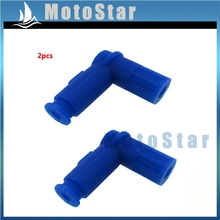 2pcs Blue Rubber Ignition Coil Spark Plug Cap For Pit Dirt Bike ATV Quad Buggy Go Kart Moped Scooter 150cc 160cc 200cc 250cc