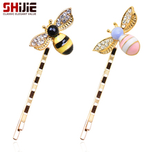 SHIJIE Korean Cute Wedding Hair Accessories for Women Pair Pink Yellow Bee Long Hairpins Fashion Crystal Gold color Hair Jewelry(China)
