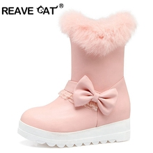 REAVE CAT Snow boots Winter shoes Waterproof Women faux fur Bowtie Fashion Cute Slip on Black Pink White Lace Large size A095(China)