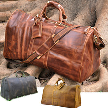 High Quality! Mens Genuine Real cowhide Leather Duffle Travel Luggage Suitcase Messenger Shoulder Tote Bags 3264