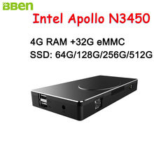 BBEN Intel Mini PC Windows 10 Intel Apollo N3450 Mini PC 4GB RAM 32GB ROM HDMI RJ45 Type C WiFi BT4.0 Stick PC Mini Computer PC