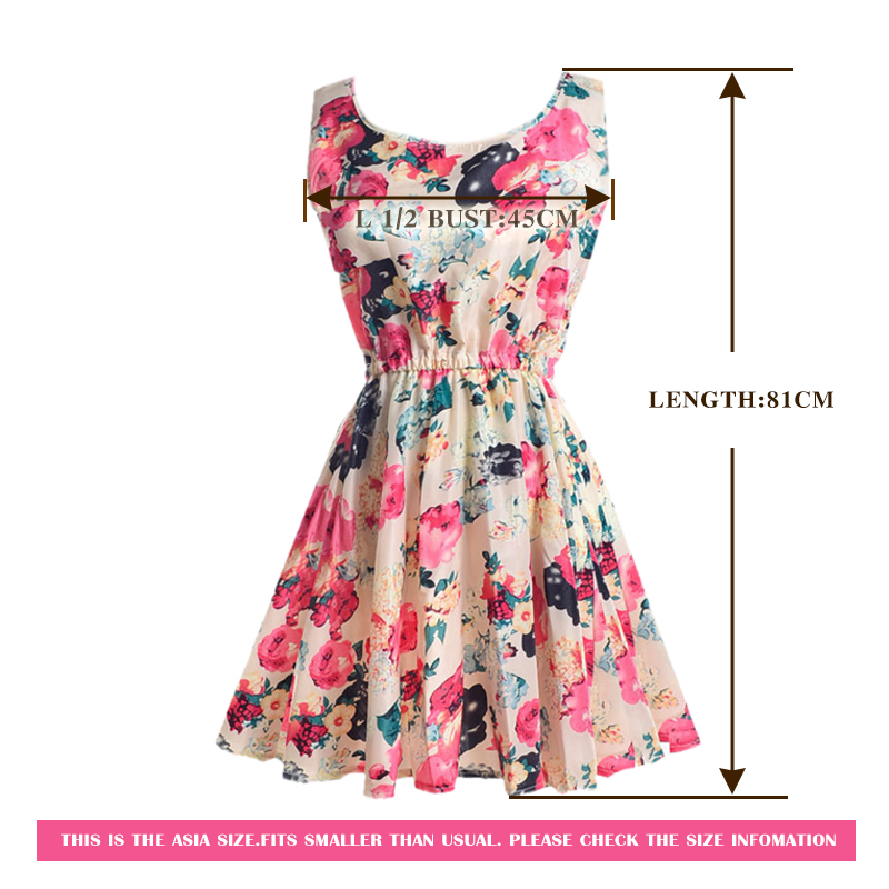 Summer Dress O-Neck Florals Print Formal Dress 2