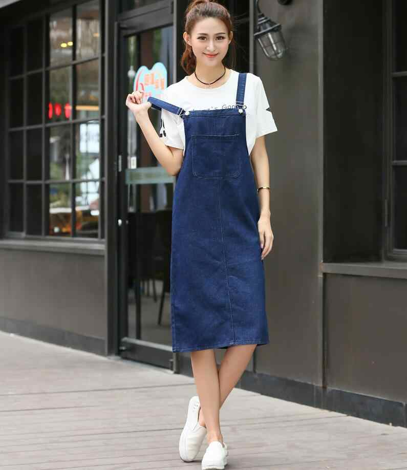 Denim sundress 2018 High Waist jeans Dress Women spring Summer casual  Dresses vestidos s1684 8a7fd7433c89