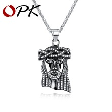 OPK Jesus God Pendant Necklaces For Men Religious Design Stainless Steel Gold Color Box Link Chain Male Christmas Gift GX1291(China)