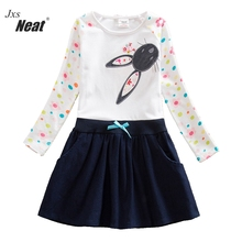 NEAT 2017 female children's wear dress cute little rabbit design beautiful autumn summer wear long-sleeved dress contr H5922#