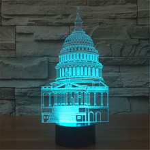 AUCD US Capitol White House USB Acrylic Colorful Nightlight Household Bedroom Office LED Table Lamp Child Christmas Gift -91(China)