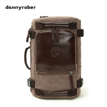 DANNYROBER Canvas Fashion Retro Travel Backpack Bookbag Shoulder Messenger Travel Multi Function Large Capacity Laptop Backpack(China)