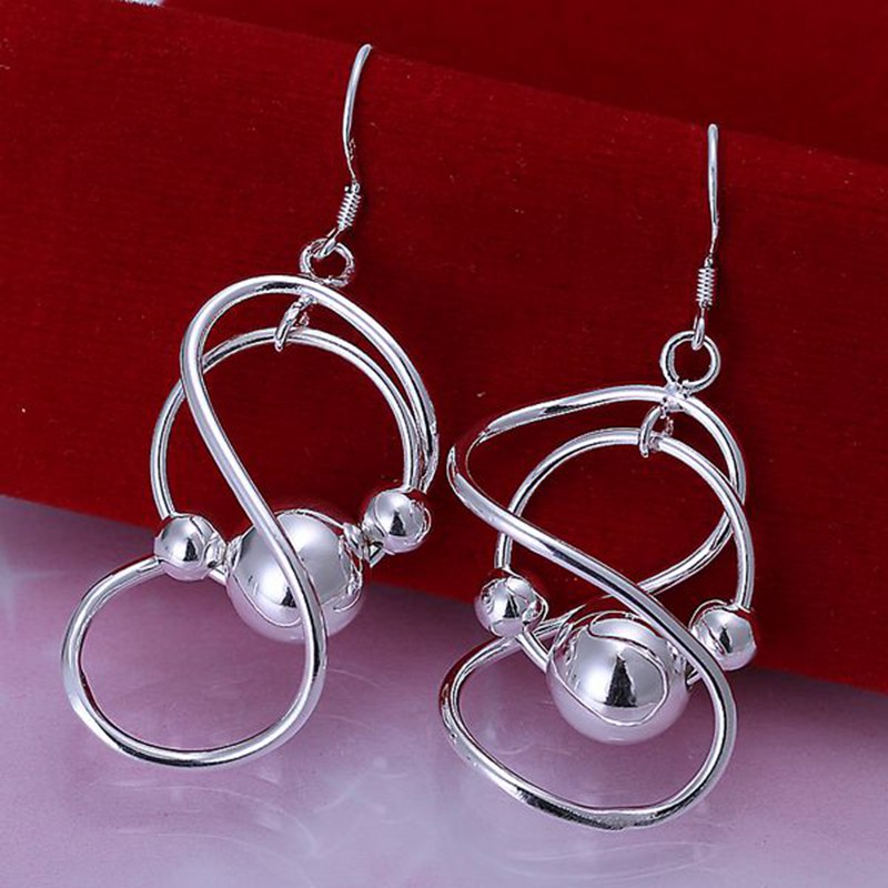 Free Shipping!!Wholesale Silver Plated Earring,Wedding Jewelry Accessories,Fashion 8 Words Hanging Beads Ball Silver Earrings