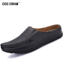 COSIDRAM Breathable Summer Shoes Men Slippers Genuine Leather Male Slides Beach Shoes Soft Fashion Shoes For Men 2017 RMC-032(China)